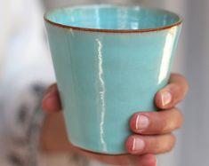 turquoise tumbler, light blue tumbler, water tumbler, coffee tumbler, ceramic tumbler
