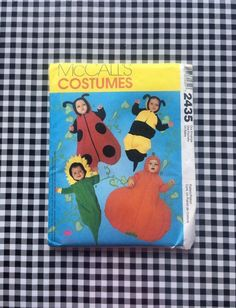 Baby costume pattern, size S-L 13 to 21 lbs, makes sunflower, ladybug, Bumble Bee or pumpkin, McCall's 2435 from 1999, uncut, baby Halloween #babycostume #halloweencostumes