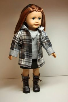 American Girl Doll Clothes-Hooded Coat, Shirt, Mini Skirt and Necklace. $34.00, via Etsy.