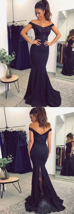 Mermaid Off the Shoulder Sweep Train Black Stretch Satin Prom Dress with Beading Lace G041