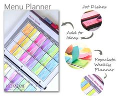 Create a menu planner with sticky tabs and a binder.