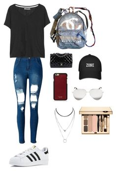 """""""Idk"""" by gwboobear on Polyvore featuring Chanel, WithChic, J Brand, adidas, Vianel and Victoria Beckham"""
