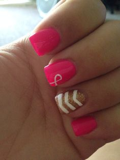 T Cancer Awareness Nails