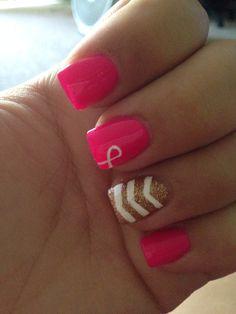 Breast cancer awareness nails. Best I've seen
