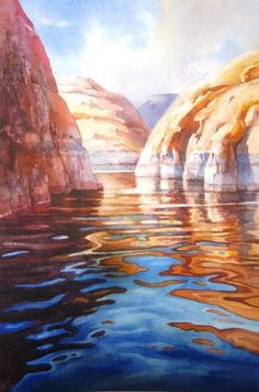 "The finished painting.""Deep Blue and Orange - Lake Powell""8"" x 12"" watercolor by Roland Lee."