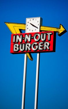 This sign still hovers over the first ever In-N-Out Burger location in Baldwin Park, CA. That location is now closed to the public, but the signs still remain, and a newer location was built just across the 10 freeway. That new location also houses In N Out University, where managers get their training, as well as a large Company Store.    13850 Francisquito, Baldwin Park CA.