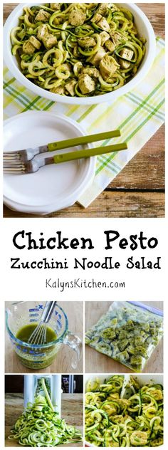 This Chicken Pesto Zucchini Noodle Salad has all the goodness of a pesto chicken salad with pasta, but none of the carbs!  If you've got zucchini, this is a great salad for a summer party. [from KalynsKitchen.com] #LowCarb #Glutenfree #CanBePaleo