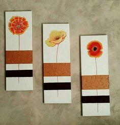 Tableau peinture tryptique cuivre orange jaune fleur pau-art