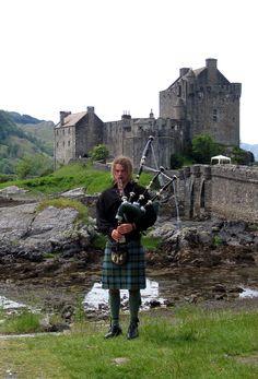 Scotland - ED Bagpiper at Eilean Donan Castle Scotland Uk, England And Scotland, Scotland Travel, Scotland Castles, Eilean Donan, Scottish Highlands, Scottish Kilts, Highlands Scotland, Men In Kilts