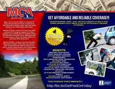Create an outstanding income stream while helping to save lives by offering citizens of USA and Canada over $150,000.00 worth of benefits for less than 66 cents per day !! For more information about there is no mca motor club of america scam, fastest way to make money online, get paid weekly, please visit www.dreamambitiously.com email:brittanythomas9030@yahoo.com facebook: www.facebook.com/Mz.b.Washington