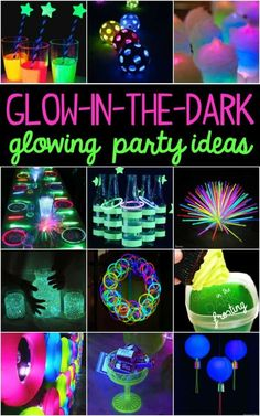 Raging Good Time Kids Glow in the Dark Party IdeasYou can find Glow party and more on our website.Raging Good Time Kids Glow in the Dark Party Ideas Sweet 16 Party Themes, Sweet 16 Party Decorations, Sweet Sixteen Parties, Birthday Party Decorations, Halloween Decorations, Neon Sweet 16, Neon Birthday, 13th Birthday Parties, Birthday Celebration
