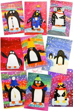 Colorful penguin art project that use simple supplies and teaches a bunch of art techniques. Makes a cute Xmas craft, too! Colorful penguin art project that use simple supplies and teaches a bunch of art techniques. Makes a cute Xmas craft, too! Grade 1 Art, First Grade Art, Kids Crafts, Winter Crafts For Kids, Easy Crafts, Winter Kids, Spring Crafts, Book Crafts, Deep Space Sparkle