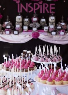 hot pink and black dessert table and candy buffet, hot pink cupcakes, cakepops