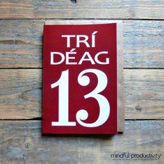 13  Trí Déag card in the Irish language