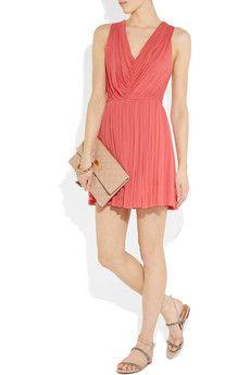 Alexander McQueen Pleated Fine-Jersey Dress- coral classiness.
