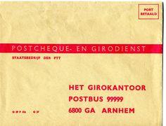 De giro envelop, het enige kantoor was toen in Arnhem