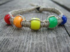 Rainbow pony bead bracelet by xPeppyandBellex on Etsy, $4.50
