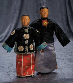 """""""Among Friends, The Billie and Paige Welker Collection"""": Lot # 101: Two Chinese Wooden Door of Hope Dolls as Modern Bride and Groom, Rare Smiling Faces"""
