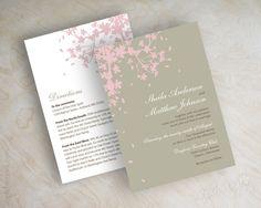 Pink cherry blossom wedding invitations, wedding invites www.appleberryink.com