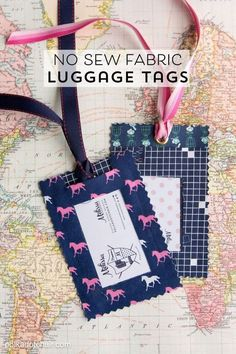 DIY Fabric Luggage Tags; so easy to make! They are no sew and don't take long to whip together. The perfect addition to your luggage.