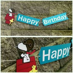 This listing is for a (1) Snoopy banner. Includes (1) Snoopy flying on Doghouse Endcap, (2) Banner flags reading Happy Birthday, & String. Estimated length around 2.5 ft  ***If you wish to add a name to this banner, choose option at checkout and leave Name for banner in Comments To Seller If more then one name is needed please contact me prior to purchasing so I can create a custom listing for you.  100% Customizable color scheme.  Please note that due to rotating stock and discontinued…