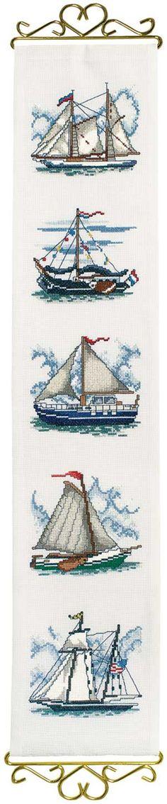 Schooner Bellpull, counted cross-stitch