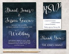 Starry Night Wedding Invitation   Under The Stars Wedding Invitation U0026 Rsvp    Printable Invitation   Outdoor Wedding  Written In The Stars