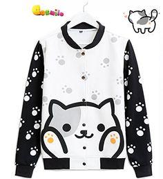 Japanese Game Neko Atsume ねこあつめ Cat Cute Coat Hoodie Sweater b2 (M)
