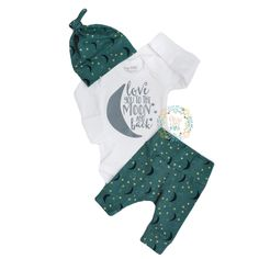 Teal Love You to the Moon and Back Newborn Outfit!! Super cute! Handmade, must have