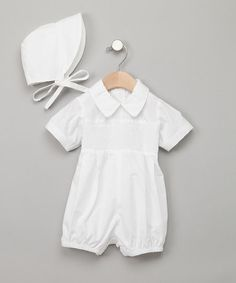 Take a look at this White Bubble Romper & Bonnet - Infant by Fantaisie Kids on #zulily today!