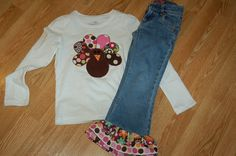 Girls Turkey set.... Shirt and ruffle jeans or skirt