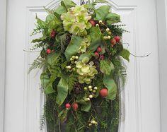 Arpillera rojo verde guirnalda de Navidad pino por WilliamsFloral