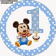 Mickey Primer Año con Lunares: Etiquetas para Candy Bar para Imprimir Gratis.