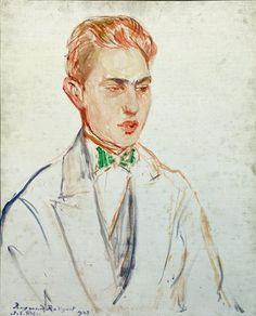 Study for a portrait of Raymond Radiguet 1923 by Jacques-Emile Blanche (1861-1942)....French novelist
