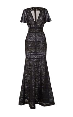 Mixed lace V-neck gown by J. Mendel