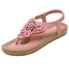 Pink Floral beaded Comfortable Sandals ==