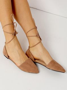 Apricot Point Toe Suede Lace Up Flats 29.87