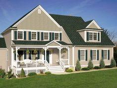 tan/navy Best Exterior Paint, Exterior Paint Colors For House, Paint Colors For Home, Exterior Colors, House Columns, House Roof, Exterior House Colors Combinations, Tan House, Green Shutters