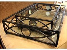 Set of 2 Mirrored Metal Trays