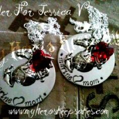 Marine Mom - Military Jewelry - Marine Mom Single Disc Hand Stamped Necklace with EGA & Red Swarovski Heart on 18in Sterling Silver Chain ...Retail $14.00 plus shipping... www.myheroskeepsakes.com www.facebook.com/myheroskeepsakes