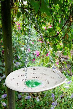 Cat's Ceramics: Poetry Bird Feeder / Bath
