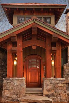 Timbered entry to house plan 11584KN to be built by a client in North Carolina