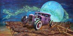Conducido por hot rod arte cartel de demonios - ford rata rod rockabilly inspirada canción muerte de hollywood hills para rebeldes y amantes de lowbrow