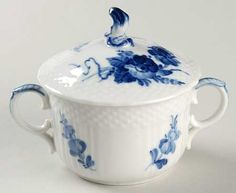 Flat Bouillon Cup With Lid in the Blue Flowers pattern by Royal Copenhagen
