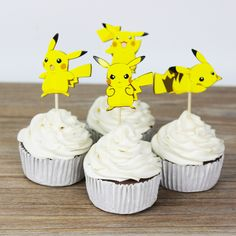 24pcs pokemon gehen Pikachu toppers picks  baby shower supplies child kids birthday party cake baking party decoration #>=#>=#>=#>=#> Click on the pin to check out discount price, color, size, shipping, etc. Save and like it!