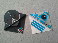 Behold the fruits of my labors! I absolutely love corner bookmarks, and I most definitely love Star Wars, so I figured why not put the two together? The results are these two cuties! I followed a YouTube tutorial (RedTedArt) for Darth Vader, but I couldn't find anything for little R2D2, so I just winged it!