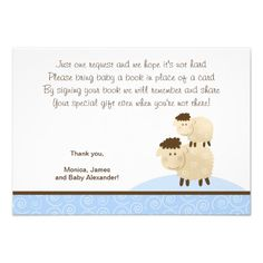 Baa Baa Sheep (Blue color) RSVP Enclosure Cards Personalized Invites