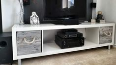 Make a DIY TV Stand with an IKEA Expedit and Pallet Boxes