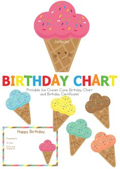 """If you are a School Teacher or Child Educator, you will love our new """"Ice Cream Birthday Chart""""! Display your children's birthdays in the cutest way! Write each of your children's names and date of birth on each ice cream cone and display on the wall of your classroom, also included is a printable birthday certificate to present to each child on their special day!"""