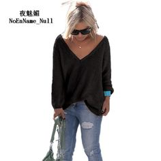 TQNFS Fashion Sweater Women Winter V Neck Loose Knitted Sweater Long Sleeve  Solid Top Women Autumn Female Sweater Sueter Mujer e620e8998